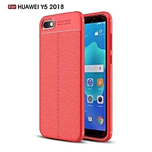Huawei Y5(2018) Silicone Case, Litchi Pattern TPU Anti-knock Phone Back Cover For Huawei Y5(2018) - Red.