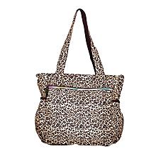 Brown & Black Waterproof Cheetah Print Diaper Bag With Pouch