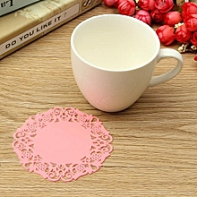 Pink New Hot Beautiful Silicone Coasters Random 6 Pack Color Round Drink Coasters Lace Stain Resistant Placemat