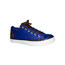 Blue Canvas Shoes With Brown Detail