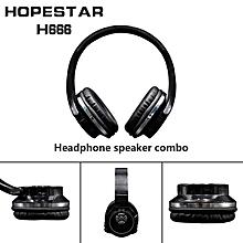 2-in-1 Bluetooth Headphones with Mic Deep Bass Wireless Headset FM Radio black