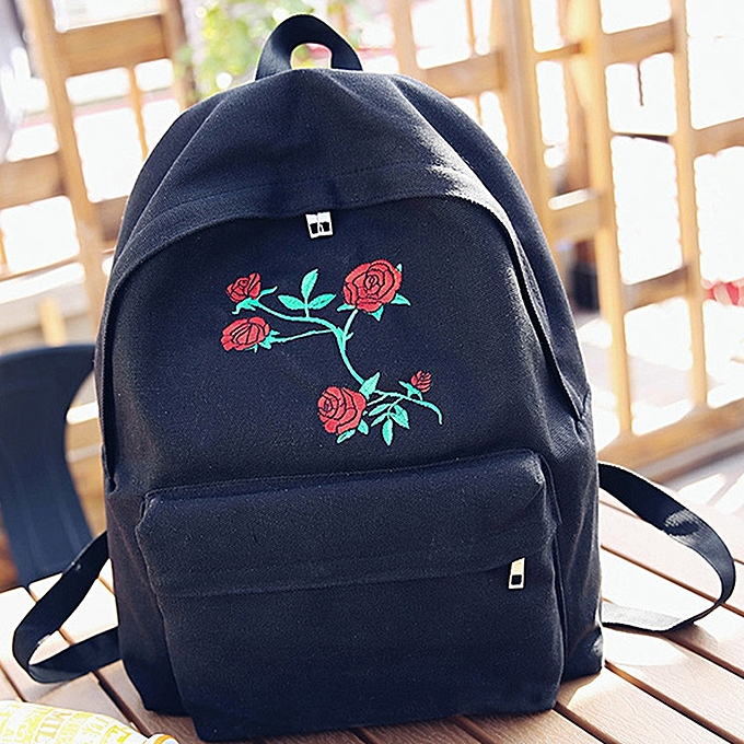 guoaivo Women Girls Canvas Embroidery Flowers School Bag Travel Backpack Bag f0b685438d