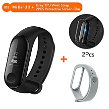 Mi band 3 OLED Heart Rate Monitor Bluetooth 4.2 Smart Bracelet+Grey replacement band and 2 free screen protector