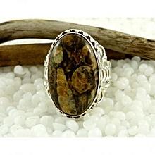 Turitella Semi Precious Gemstone in 925' Sterling Silver Ring Size 7.