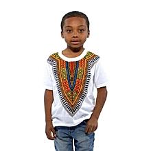 African Dashiki  Print  Kids T-shirt -White