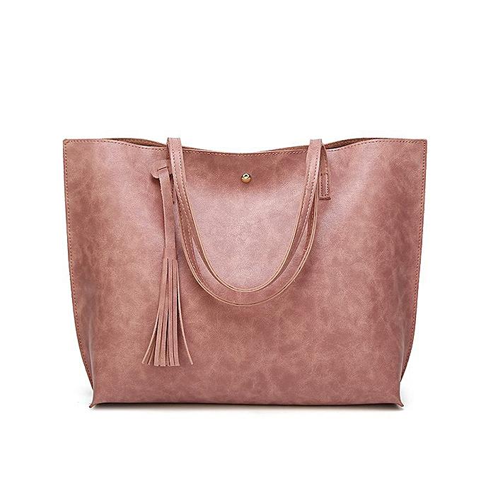 cf3a17f1bfc8 Oil Wax Women Casual Large Capacity PU Leather Handbag