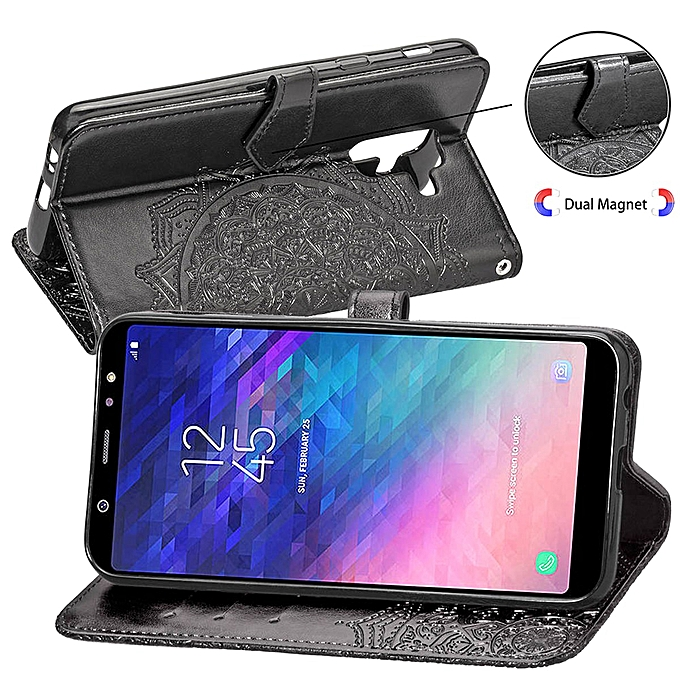 Galaxy A6 Plus Case,Mandala Embossing PU Leather Magnetic Flip Folio  Kickstand Wallet Case with Card Slots Case for Samsung Galaxy A6  Plus/Galaxy A6+