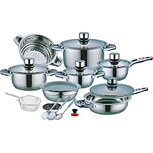 High Quality23Pcs Stainless Steel Casserole Set with Blue/Clear Covers