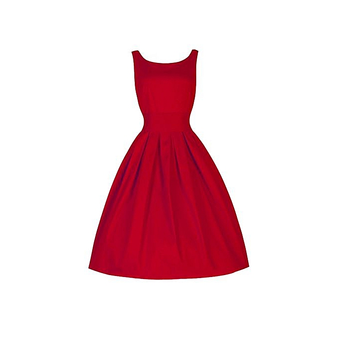 4b218e4ee36 Fashion Hiaojbk Store Vintage Style Women 50 S Swing Retro Housewife Party  Rockabilly Evening Dress-Red