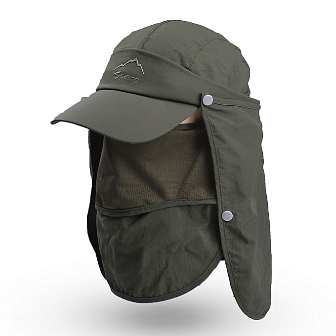 67fef96f7 Women Mens Summer Sun Hats UV Protection Hiking Fishing Sun Visor Caps  Folding Removable Flap Boonie Hat Neck Face Mask WH107( green)