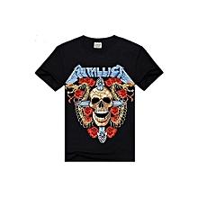 3D Skull Rose Printed Metallica Rock Short Sleeve T-shirt (Black)
