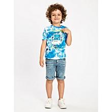 Boy Blue Printed Regular Crew Neck T-Shirt