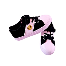 Sneakers Unisex (Boy and Girl) With A Smiley Emoji- Black and White
