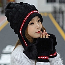 1Purely black hat+glovesHat female Han Ban Bai takes knit fabric knitting wool in winter gloves to keep warm to add Rong to thicken to protect an ear rabbit hair to ride bike to defend a breeze hat
