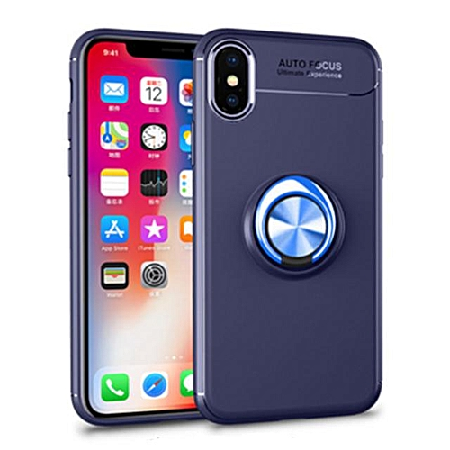 best service 0bf4c 61431 For IPhone X Case Magnetic Ring Holder Stand Phone Cases For Iphone X Metal  Car Holder Cover (Blue)