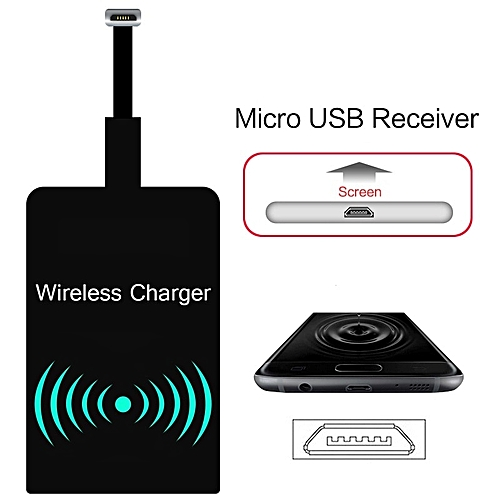 Qi Wireless Charger Receiver Adapter Universal Android Receiver Pad Micro  USB Wireless Charging Receiver for iPhone Samsung(Black)
