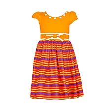 Orange Short Sleeved Striped Girls Dress