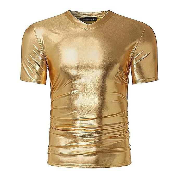 Fashion Fashion Bright Men Tops Short Sleeve T-Shirt V-Neck Men T ... 9f18311ee978