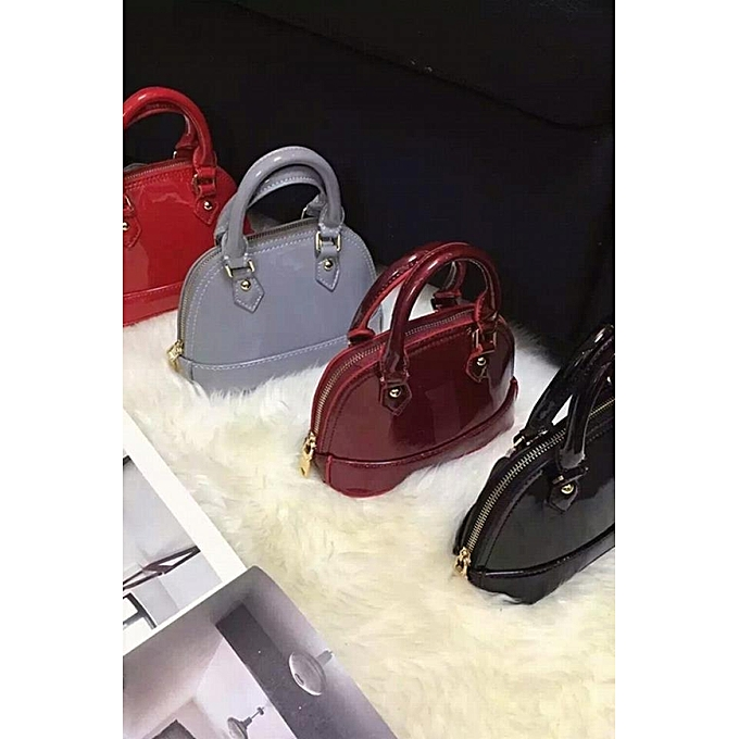 Wine Red Chain Clause Mini Patent Leather Handbags Shell Bag Simple Messenger Small