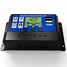 12V 24V Solar Cell Panel Battery Charge Controller Regulator with 5V Dual USB Port, LCD Display