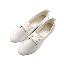 Womens Lady Snakeskin Oxfords Pointy Toe Casual Flats Lace Up Dress Formal Shoes White