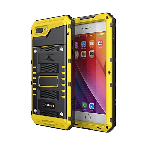 new styles 688bf 7b7fb Waterproof Dustproof Shockproof Zinc Alloy + Silicone Case for iPhone 8  Plus & 7 Plus (Yellow)