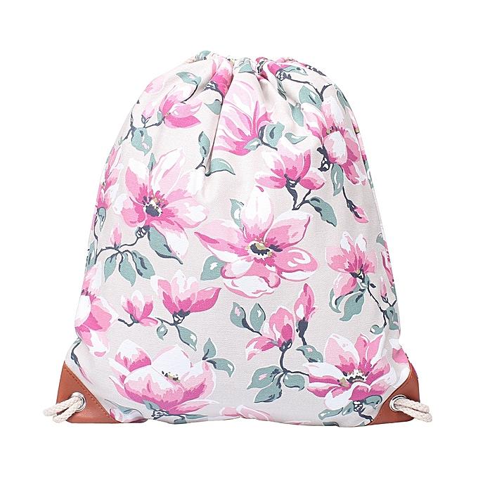 01300b6601f koaisd Fashion Women Canvas Printing High Capacity Bucket Bag Backpack  Shoulder Bag GY