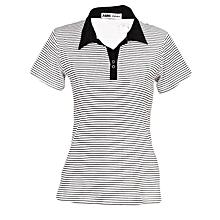 White Short Sleeved Striped Women's Polo T Shirt