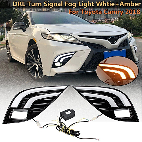 Pair LED Daytime Running Lamp DRL Fog Turn Signal Light For Toyota Camry  2018