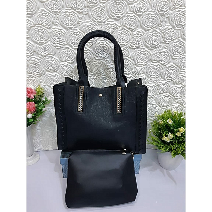 Elegant Lady 2 In 1 Fashionable Handbag Black