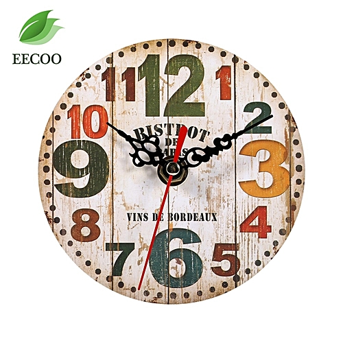 Creative Antique Wall Clock Vintage Style Wooden Round Clocks Home Decoration 3