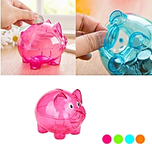 Piggy Bank Money Box Saving Coins Cash Fun Gift Plastic Pig Safe Transparent Kid