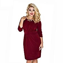 Women's Plus size/Big size office lady crew neck sequin decoration pencil dress