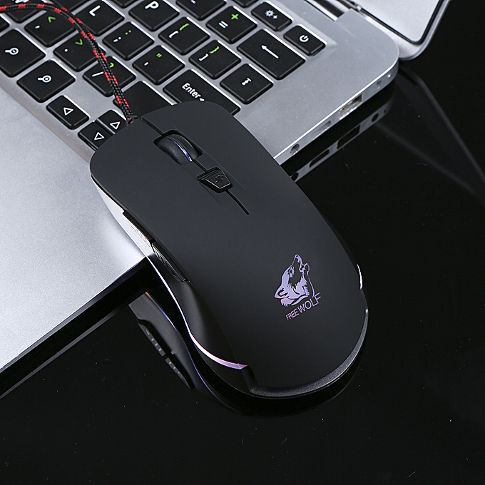 Free Wolf Wired Gaming Mouse 5 Adjustable DPI 4000DPI Gaming Mice with 6  Programmable Button and Breathing RGB Backlit