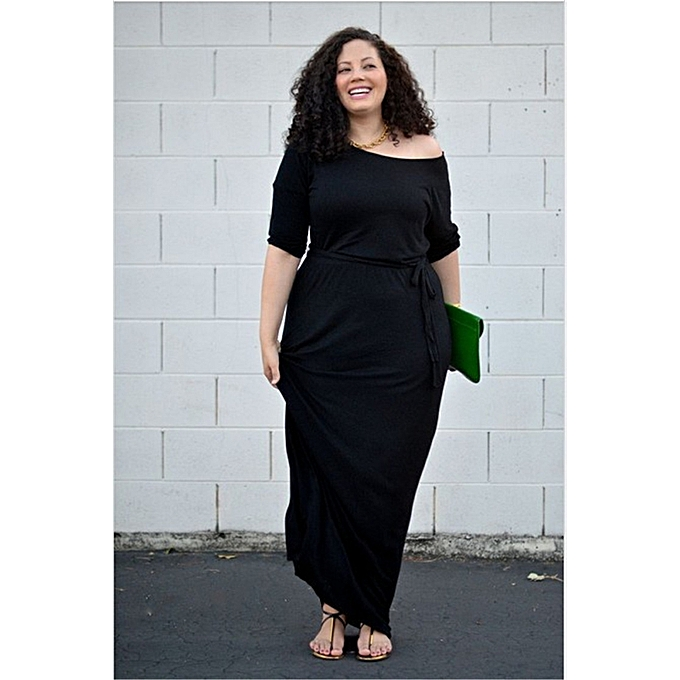 52be70c1f443e Summer O-Neck Elegant Maxi Dress Women Lace Up Women Casual Black Dress  High Waist Plus Size Fashionable Dresses Vestidos-black