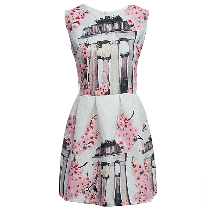 Buy Fashion Cute Round Collar Sleeveless Floral Pattern A Line Ball
