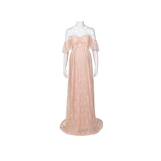 eac3ba3433d12 ... Tectores Pregnant Women Off Shoulder Lace Long Maxi Dress Gown Maternity  Photography Prop ...