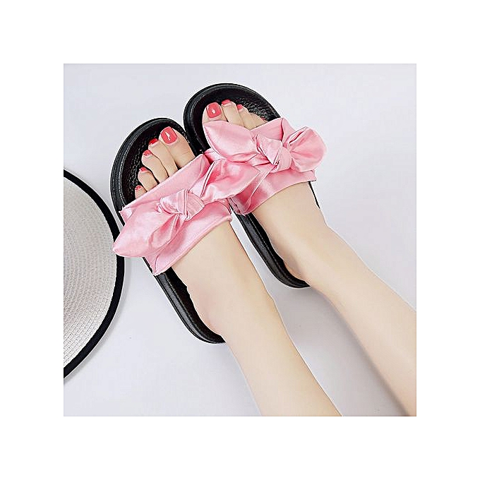aae4ed76057 ... Jiahsyc Store Summer Women Bow Wedge Sandals Beach Shoes Flip Flops  Platform Slippers PK 36- ...