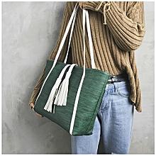 Women's Leisure Leather Tassel Handbag Shoulder Bag Tote Zipper Bag DG