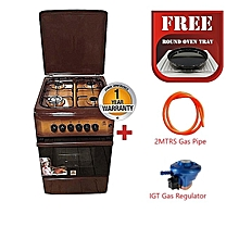 Free Standing Cooker, 50cm X 55cm, 4Gas Burners, Gas Oven - MST55PIAGDB/SD - With 2M German Technology Gas Pipe and IGT Snap On Compact Low Pressure Regulator  - Brown
