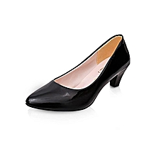 OL Square Heels Women Pumps Fashion Med Heels Career Office Lady Shoes (Matte Black)