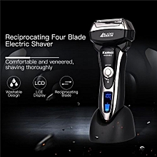 Reciprocating Razor Four Blades Electric Shaver With LCD Display Waterproof Rechargeable