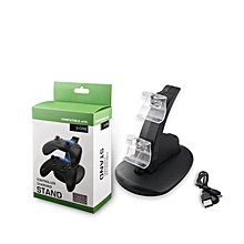 LEBAIQI IV-X1002 Black Dual Charging Dock, Dual Controller Charger Kit with LED Light For Xbox One/Xbox One S Controllers