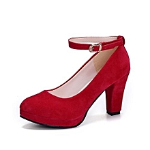 Flock Sling Black High Heels Pumps Women Shallow Square Heels Cusual Shoes (Red)