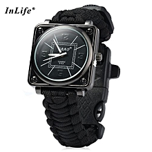Inlife Outdoor Suvival Paracord Watch With Fire Starter Compass Whistle Rescue Bracelet-BLACK