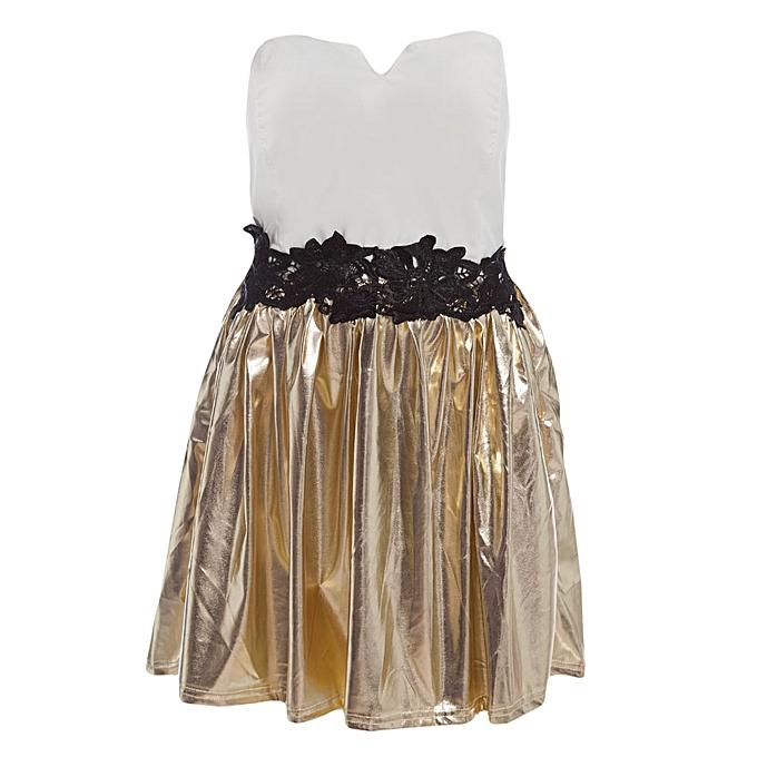 Buy Fashion Women heart Neck Puff Dress - White+Golden @ Best Price ...