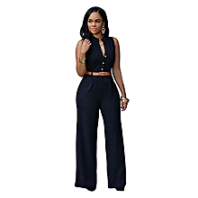 New arrivel Women Elegant Sleeveless Belted Wide Leg Jumpsuit S-2XL Plus Size Macacao Long Pant -black