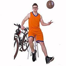 Customized Fashion Men Boy's Basketball Team Training Sports Jersey Set-Orange(001S)