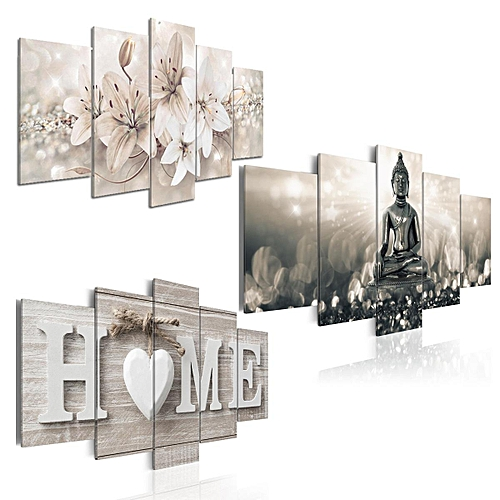 Buy Generic 5 Panels Large Buddha Wall Art Print Picture Canvas Wall ...