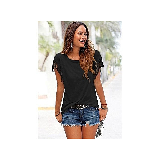 e881ee8bbe47d YOINS Women New High Fashion Style Clothing Casual Short Sleeve Scoop Neck  Black T-Shirt